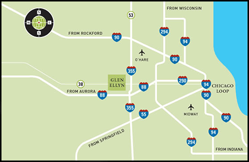 Map of the major highways around Glen Ellyn