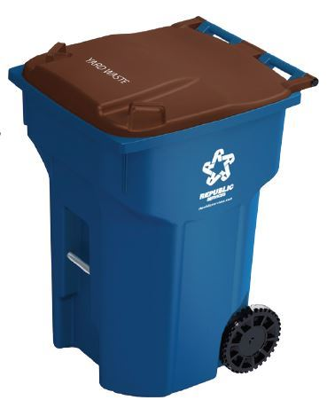 Blue compost container with brown lid